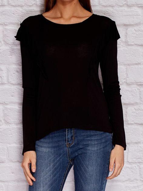 YUPS Czarna bluzka z falbanami                                  zdj.                                  1