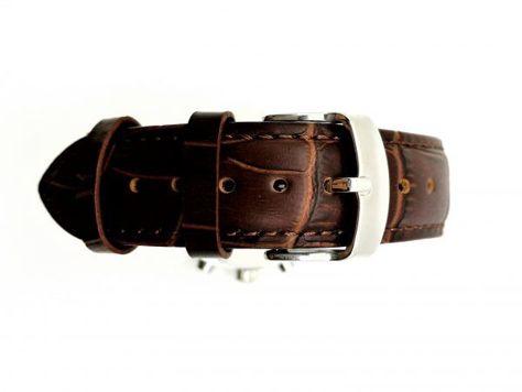 ZEMGE Zegarek unisex srebrny na skórzanym brązowym pasku Eleganckie pudełko prezentowe w komplecie                              zdj.                              4