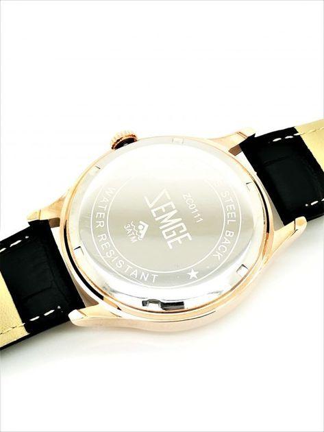 ZEMGE Zegarek unisex złoto-czarny na skórzanym czarnym pasku Eleganckie pudełko prezentowe w komplecie                              zdj.                              4