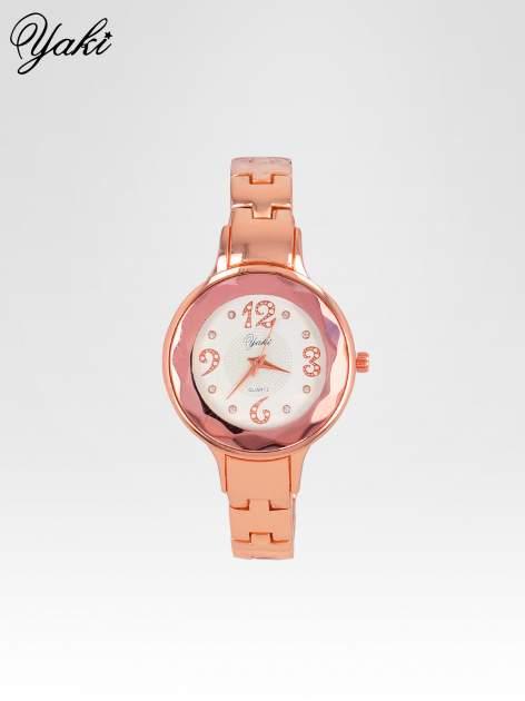 Zegarek damski na bransolecie z okrągłą kopertą z cyrkoniami w kolorze różowego złota                                  zdj.                                  1