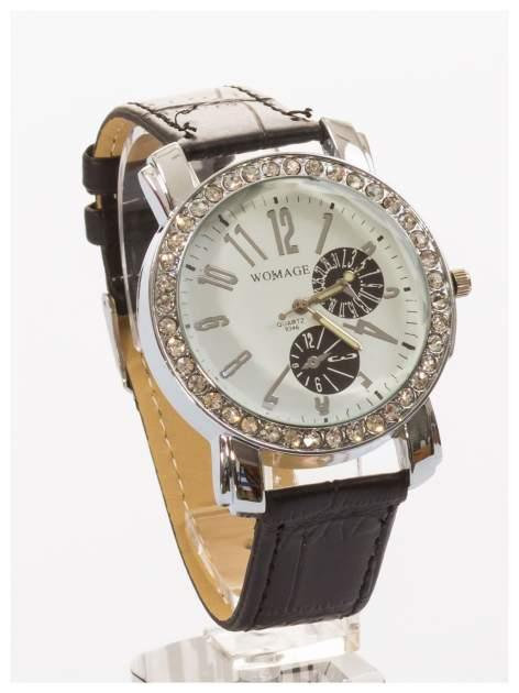 Zegarek damski na skórzanym pasku. Duży + cyrkonie                                  zdj.                                  3