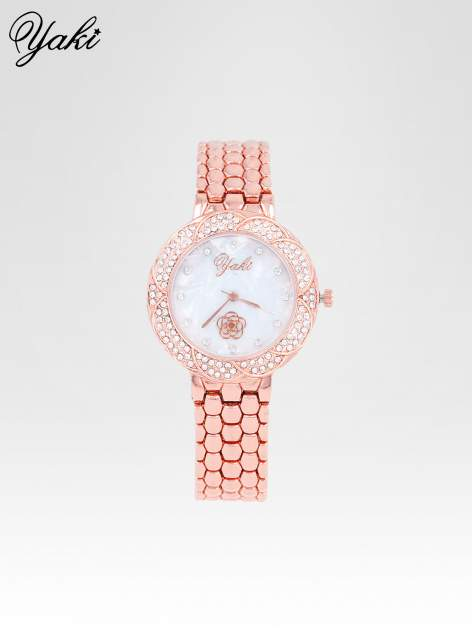 Zegarek damski z cryrkoniową kopertą w kolorze różowego złota