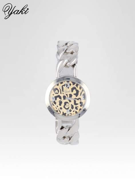 Zegarek damski z motywem leopard print na bransolecie ze srebra