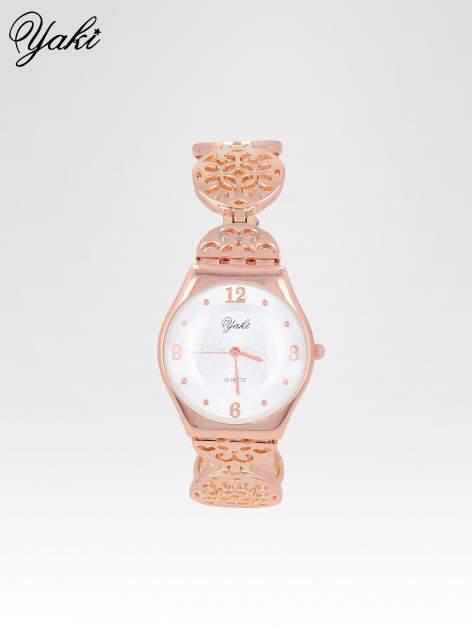 Zegarek damski z różowego na ażurowej bransolecie                                  zdj.                                  1