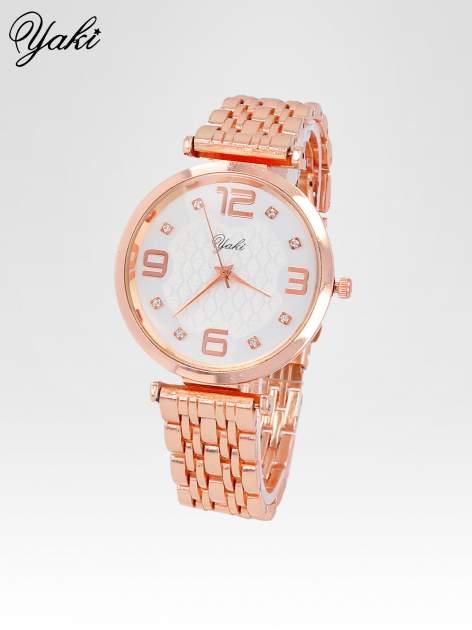 Zegarek damski z różowego złota na bransolecie z dużą białą tarczą                                  zdj.                                  2