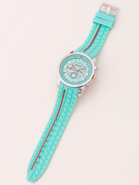 Zegarek męski miętowy z ozdobnym chronografem na tarczy i bieżnikowanym paskiem                               zdj.                              2