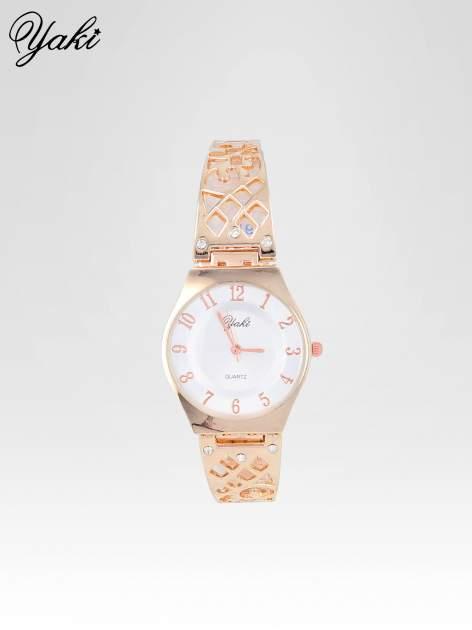 Zegarek na bansolecie z cyrkoniami z różowego złota                                  zdj.                                  1