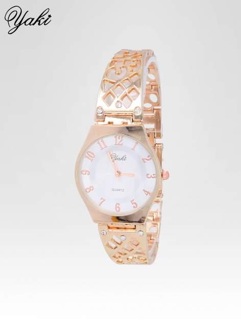 Zegarek na bansolecie z cyrkoniami z różowego złota                                  zdj.                                  2