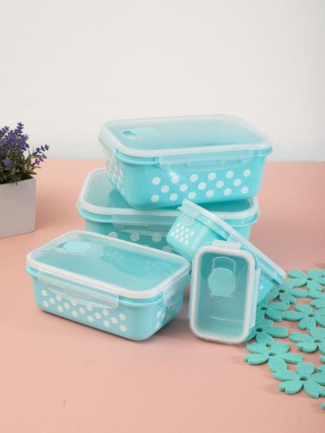 Zestaw jasnoniebieskie pojemniki do żywności 5 elementów                              zdj.                              2