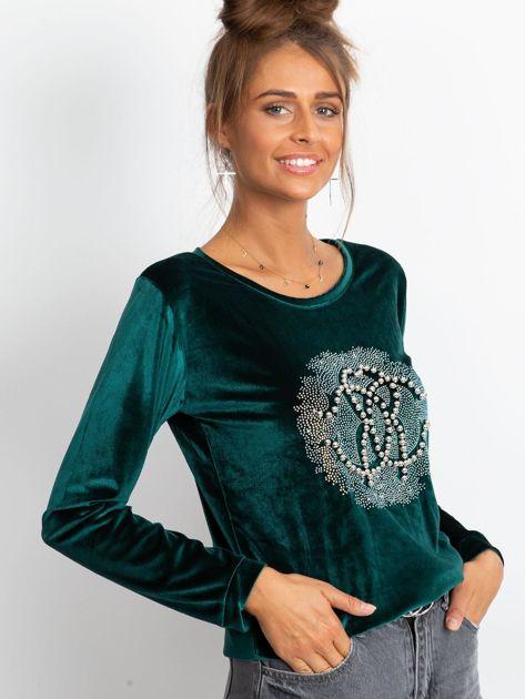 Zielona aksamitna bluza damska z aplikacją                              zdj.                              3