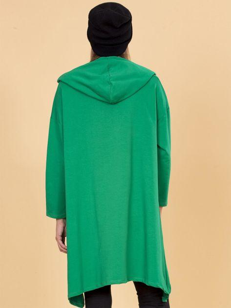 Zielona asymetryczna bluza dresowa z kapturem                              zdj.                              2
