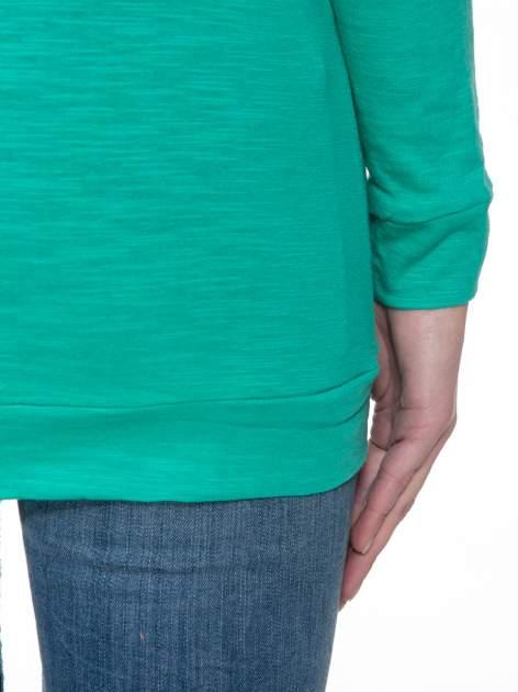 Zielona bawełniana bluzka z rękawami typu reglan                                  zdj.                                  8