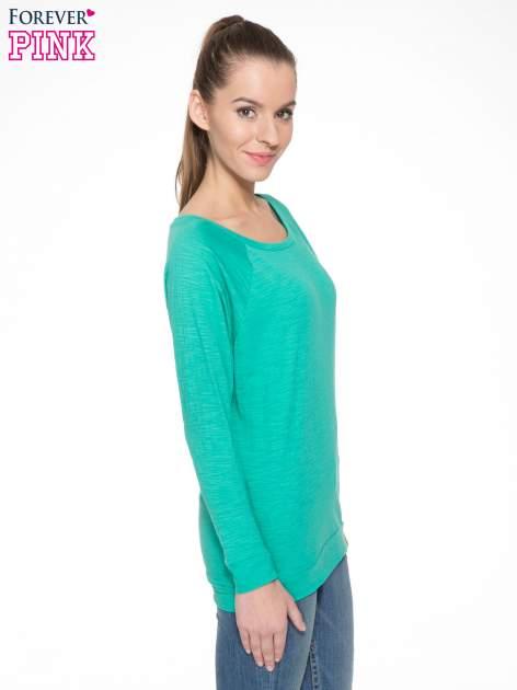 Zielona bawełniana bluzka z rękawami typu reglan                                  zdj.                                  5