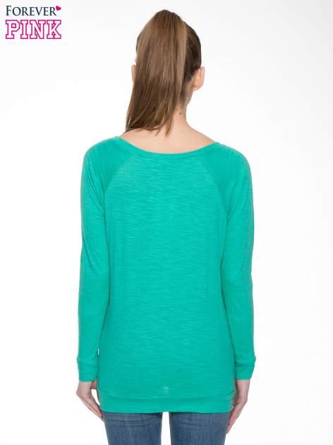 Zielona bawełniana bluzka z rękawami typu reglan                                  zdj.                                  6