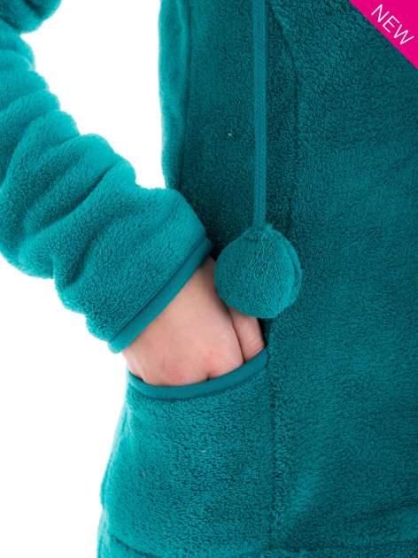 Zielona bluza miś z kapturem z uszkami i pomponami                                  zdj.                                  6