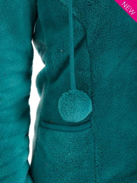 Zielona bluza miś z kapturem z uszkami i pomponami                                  zdj.                                  8