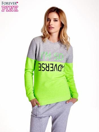 Zielona bluza z napisem I'M SO ADVERSE                                  zdj.                                  1