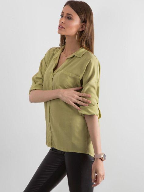 Zielona bluzka oversize z kieszenią                              zdj.                              3