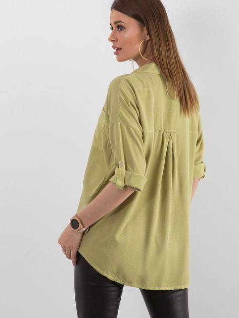 Zielona bluzka oversize z kieszenią                              zdj.                              2