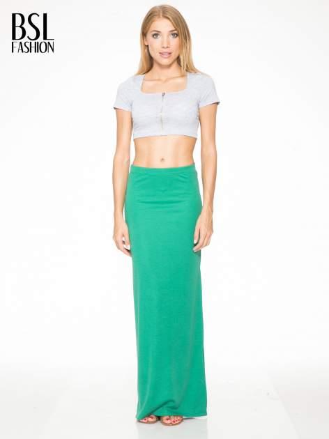 Zielona długa spódnica maxi z rozporkiem