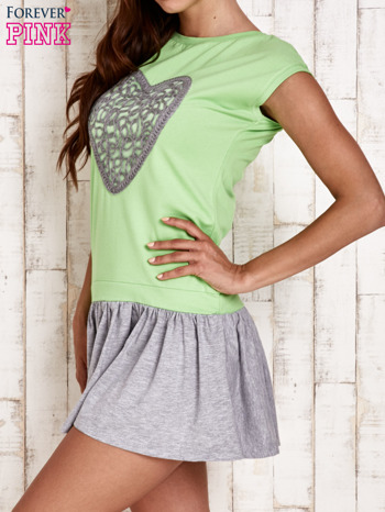 Zielona dresowa sukienka tenisowa z sercem                                  zdj.                                  3
