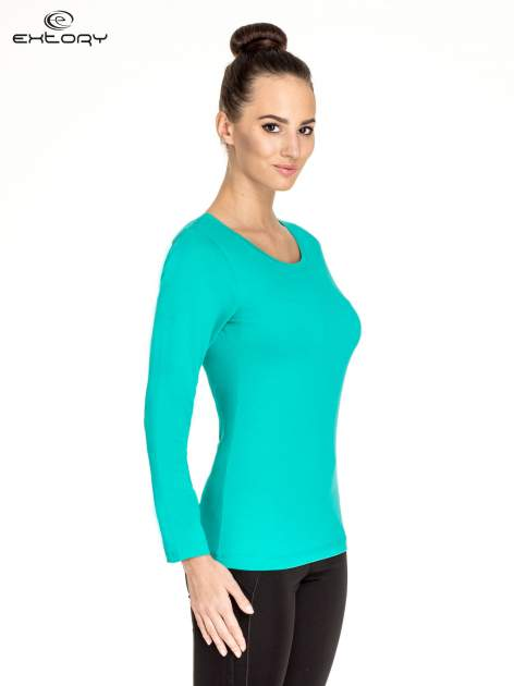 Zielona gładka bluzka sportowa z dekoltem U PLUS SIZE                                  zdj.                                  3