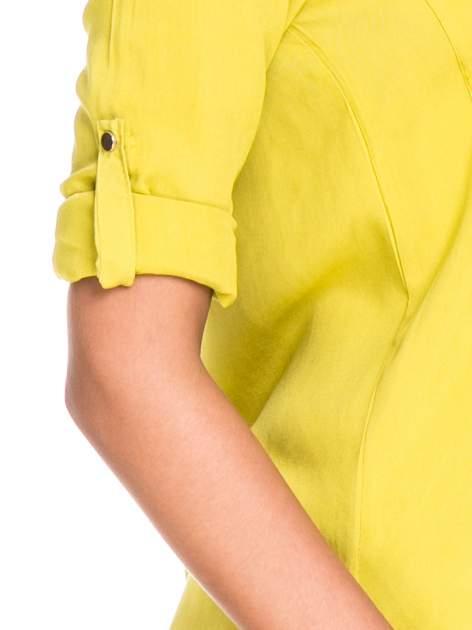 Zielona klasyczna koszula z kieszonkami po bokach                                  zdj.                                  6