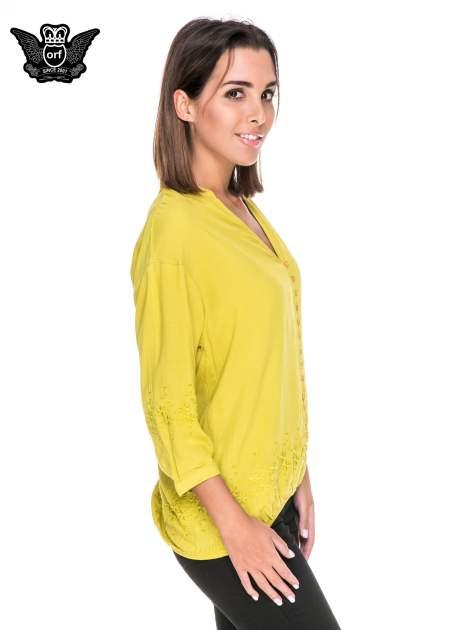 Zielona koszula w stylu boho z kwiatowym haftem                                  zdj.                                  3