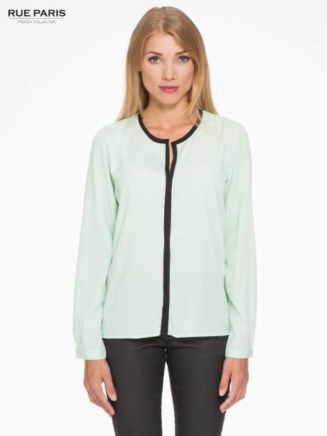 Zielona koszula z kontrastową listwą                                  zdj.                                  1