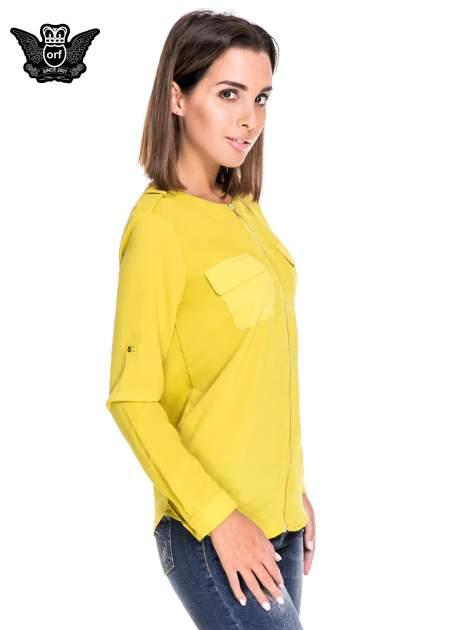 Zielona koszula ze złotym suwakiem i kieszonkami                                  zdj.                                  3