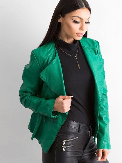 Zielona kurtka ze skóry ekologicznej                              zdj.                              3