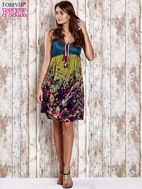 Zielona kwiatowa sukienka z kolorowymi troczkami                                  zdj.                                  4