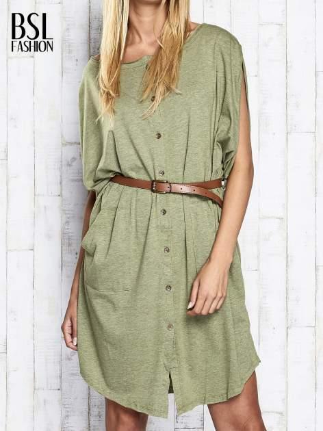 Zielona melanżowa sukienka oversize z guzikami                                  zdj.                                  1