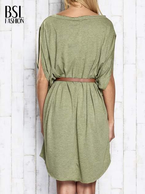 Zielona melanżowa sukienka oversize z guzikami                                  zdj.                                  5
