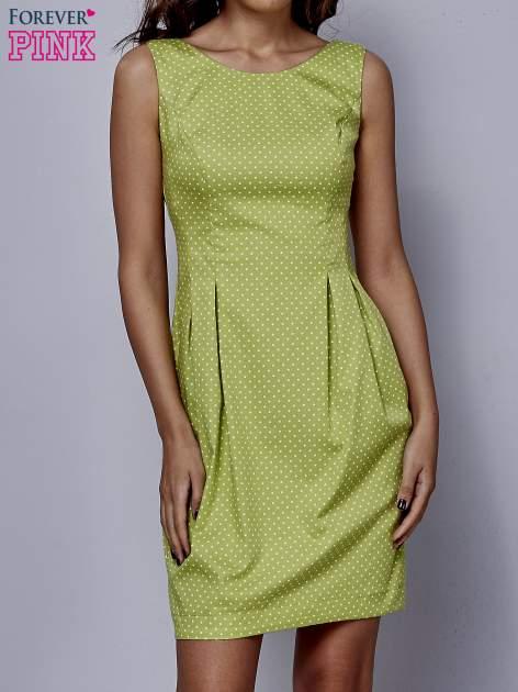 Zielona rozkloszowana sukienka w groszki                                  zdj.                                  1