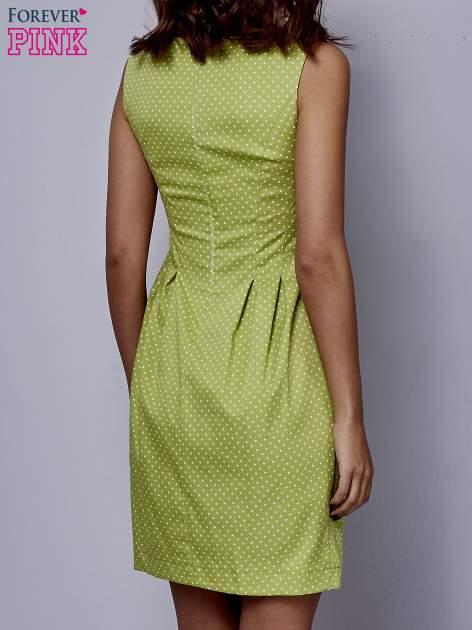 Zielona rozkloszowana sukienka w groszki                                  zdj.                                  4