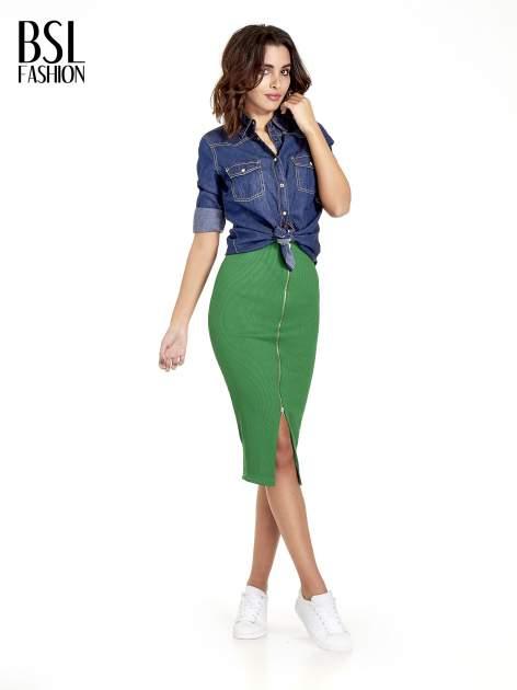 Zielona spódnica midi z suwakiem z przodu                                  zdj.                                  8