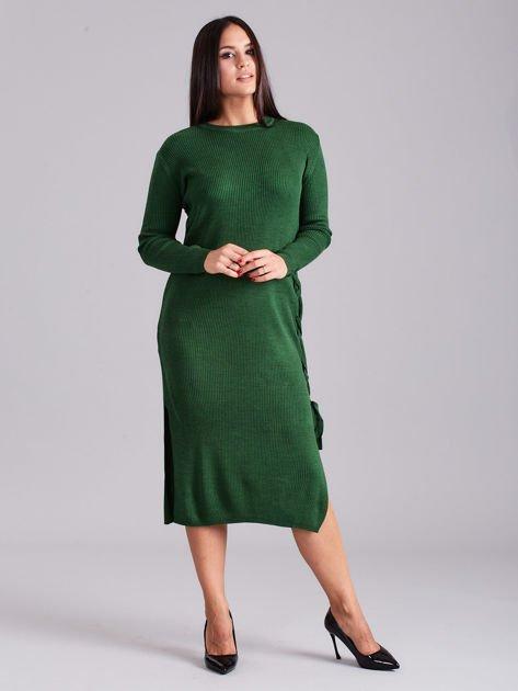 Zielona sukienka dzianinowa z bocznym sznurowaniem                              zdj.                              4