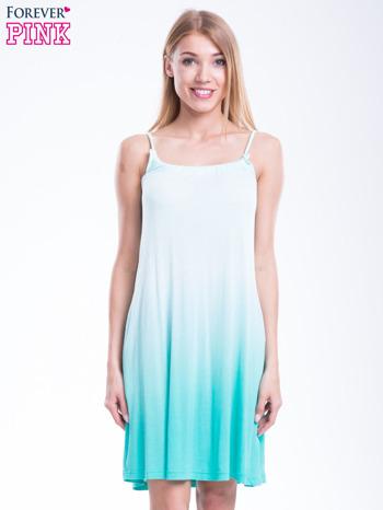 Zielona sukienka na ramiączka z efektem ombre                                  zdj.                                  1