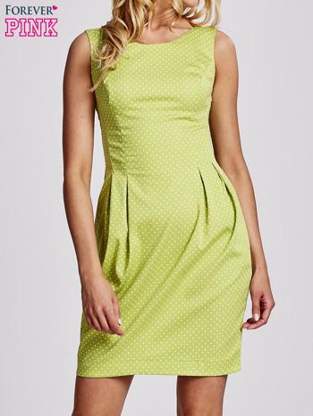 Zielona sukienka w groszki z zakładkami                                  zdj.                                  1