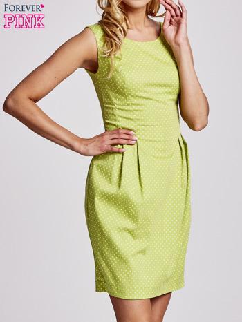 Zielona sukienka w groszki z zakładkami                                  zdj.                                  3