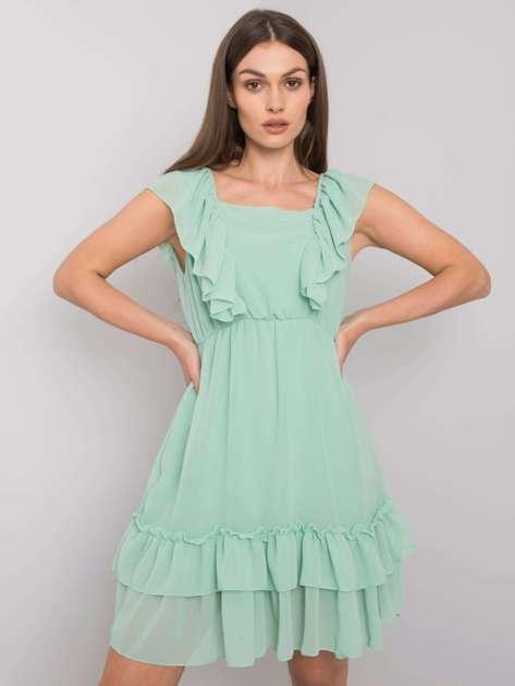 Zielona sukienka z falbanami Safina