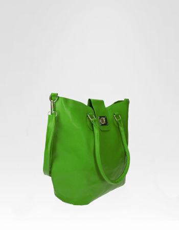 Zielona torebka city bag z zatrzaskiem                                  zdj.                                  2