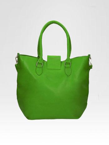 Zielona torebka city bag z zatrzaskiem                                  zdj.                                  7