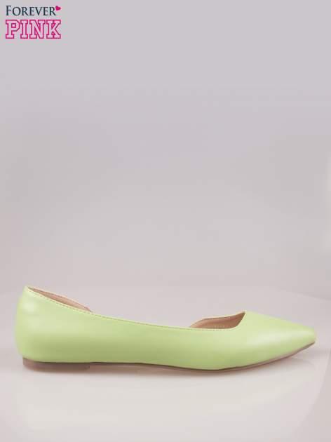 Zielone baleriny faux leather Cookie w szpic z wycięciem z boku                                  zdj.                                  1