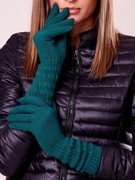 Zielone długie rękawiczki z drapowanym rękawem                                  zdj.                                  1