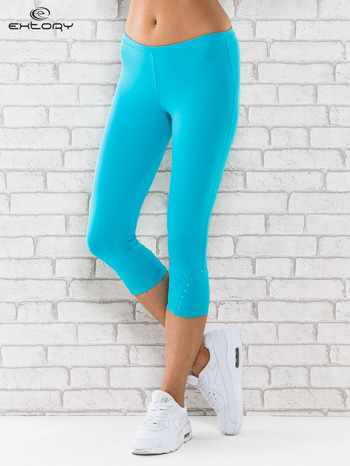 Zielone legginsy sportowe termalne z dżetami na nogawkach                                  zdj.                                  1