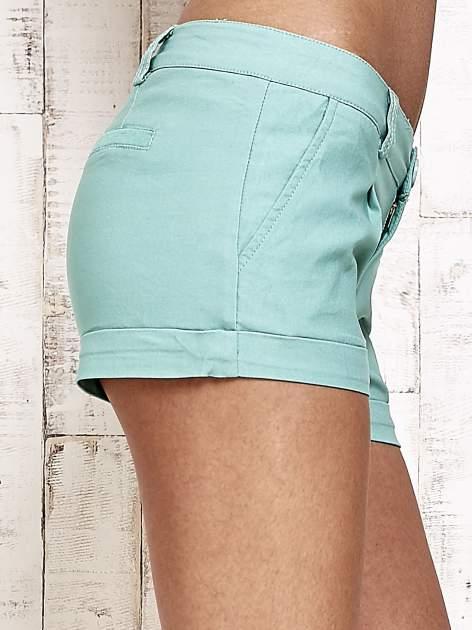 Zielone materiałowe szorty z podwijaną nogawką                                  zdj.                                  7