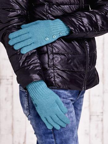 Zielone rękawiczki z guzikami                                  zdj.                                  3