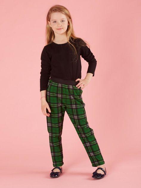 Zielone spodnie dziewczęce w kratę                              zdj.                              4